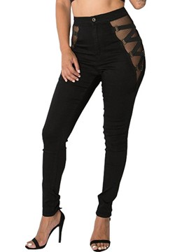 Ericdress High-Waist Mesh Patchwork Jeans