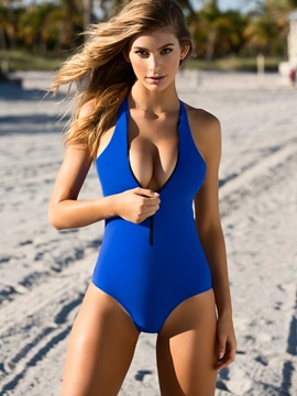 Ericdress Plain Zipper Backless Monokini