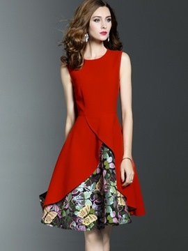 Ericdress Patchwork Asymmetrical Sleeveless A Line Dress