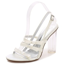 Ericdress Strappy Rhinestone Plain Clear Chunky Heel Wedding Shoes