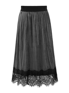 Ericdress Lace Pleated Patchwork Skirts