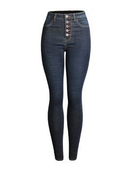 Ericdress High-Waist Botton Denim Slim Women's Jeans