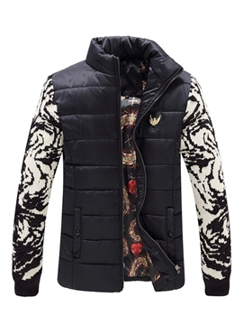Ericdress Color Block Print Vogue Men's Winter Coat