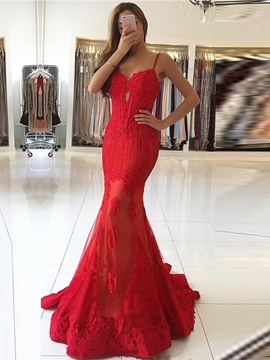Ericdress Spaghetti Straps Lace Mermaid Evening Dress With Court Train