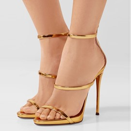 Ericdress Golden Low-Cut Plain Stiletto Sandals