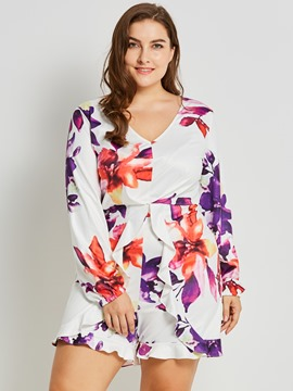 Ericdress Plus Size Floral Ruffles Women's Jumpsuit