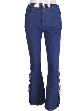 Ericdress Bellbottoms Lace-Up Button Pocket Jeans