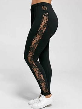 Ericdress Lace Hollow Plain Large Size Leggings Pants
