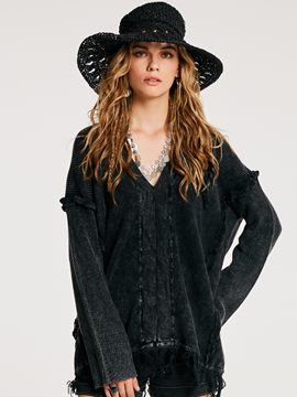 Ercdress Loose V-Neck Tassel Patchwork Sweater