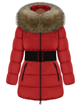 Ericdress Mid-Length Fur Collar Hooded Down Coat