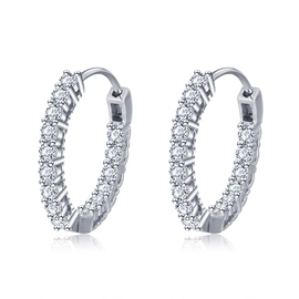 MarkChic Fabulous Diamante S925 Sterling Silver Hoop