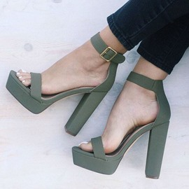 Ericdress Hasp Open Toe Ankle Strap Chunky Sandals