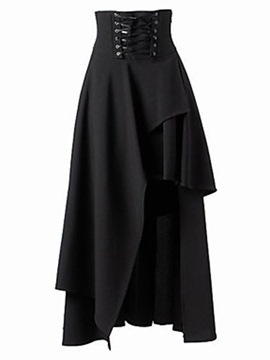Ericdress Halloween Costume Ankle-Length Asymmetrical High-Waist Lace-Up Women's Skirt