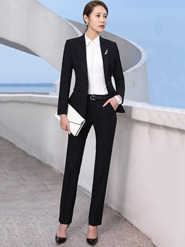 Ericdress Pocket Pants Plain Notched Lapel Straight Jacket and Pants Formal Suits