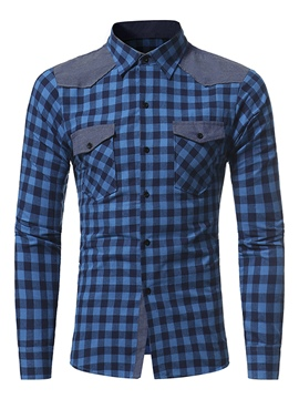 Ericdress Casual Patched Plaid Men's Shirt