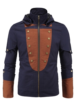 Ericdress Button Patchwork Hooded Casual Men's Jacket