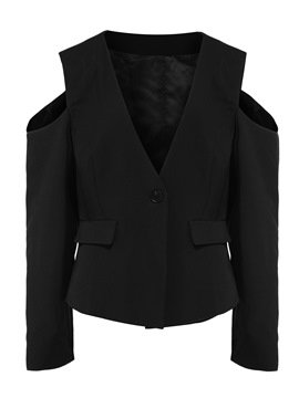 Ericdress Plus-Size Cold Shoulder V-Neck Blazer