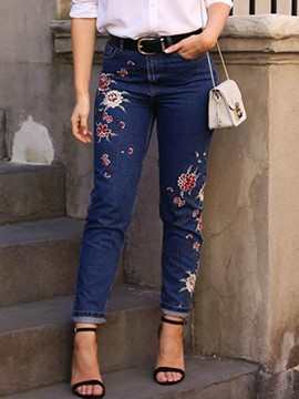 Ericdress Embroidery Pocket Washable Jeans