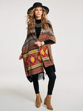 Ericdress Geometric Tassel Patchwork Cape