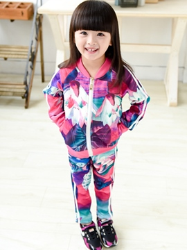 Ericdress Floral Zipper Coat And Pant Fall Girls Jogging Set