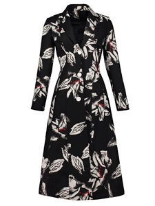 Ericdress Notched Lapel Single-Breasted Floral Print Overcoat