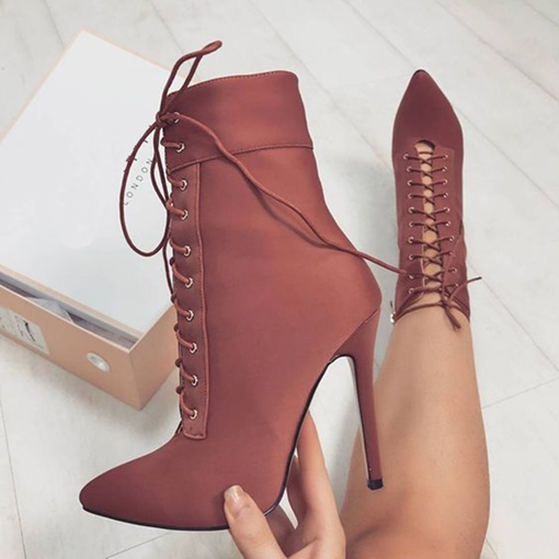 Ericdress Lace-Up Stiletto Heel Women's Boots