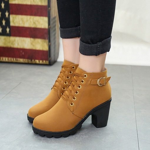 Ericdress Plain Lace-Up Platform Chunky Heel Boots with Buckle