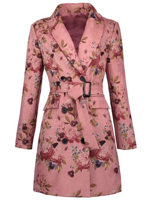 Ericdress Shawl Collar Double-Breasted Floral Print Overcoat