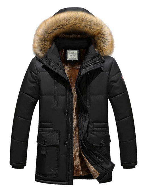 Ericdress Plain Faux Fur Hooded Men's Winter Coat