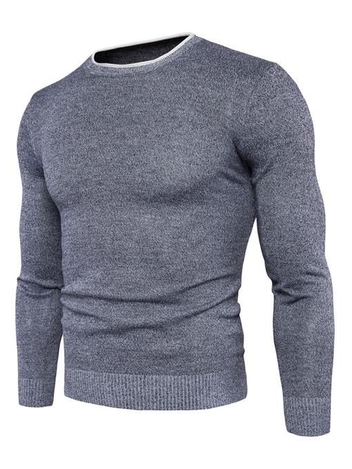 Ericdress Round Neck Solid Color Slim Long Sleeve Men's Sweater