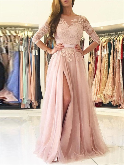 Ericdress 3/4 Sleeve Applique A Line Long Evening Dress With Split