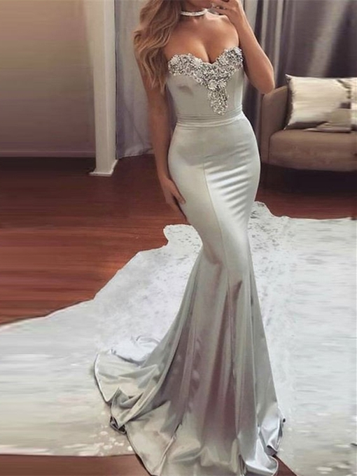 Ericdress Sweetheart Beaded Mermaid Evening Dress With Court Train