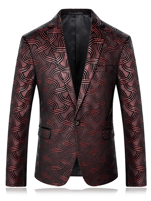Ericdress One Button Vogue Print Slim Men's Blazer