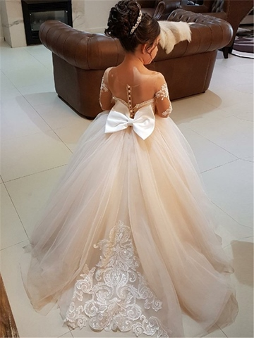 Ericdress Ball Gown Long Sleeves Appliques Tulle Flower Girl Dress