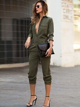 Women's Clothing Casual Button Pocket Slim Lapel Jumpsuits Pants