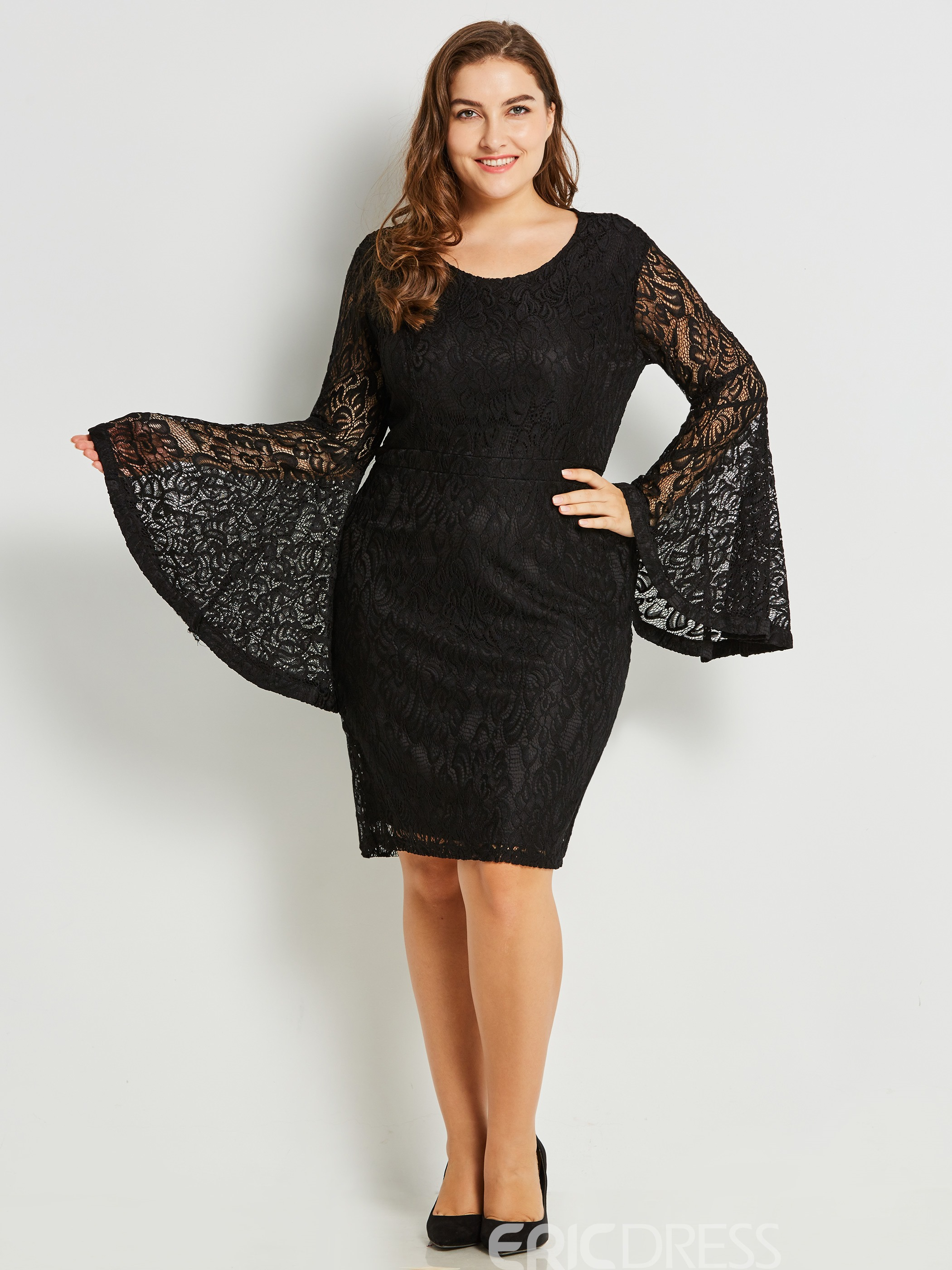 Ericdress Lace Patchwork Round Collar Bell Sleeve Sheath Dress