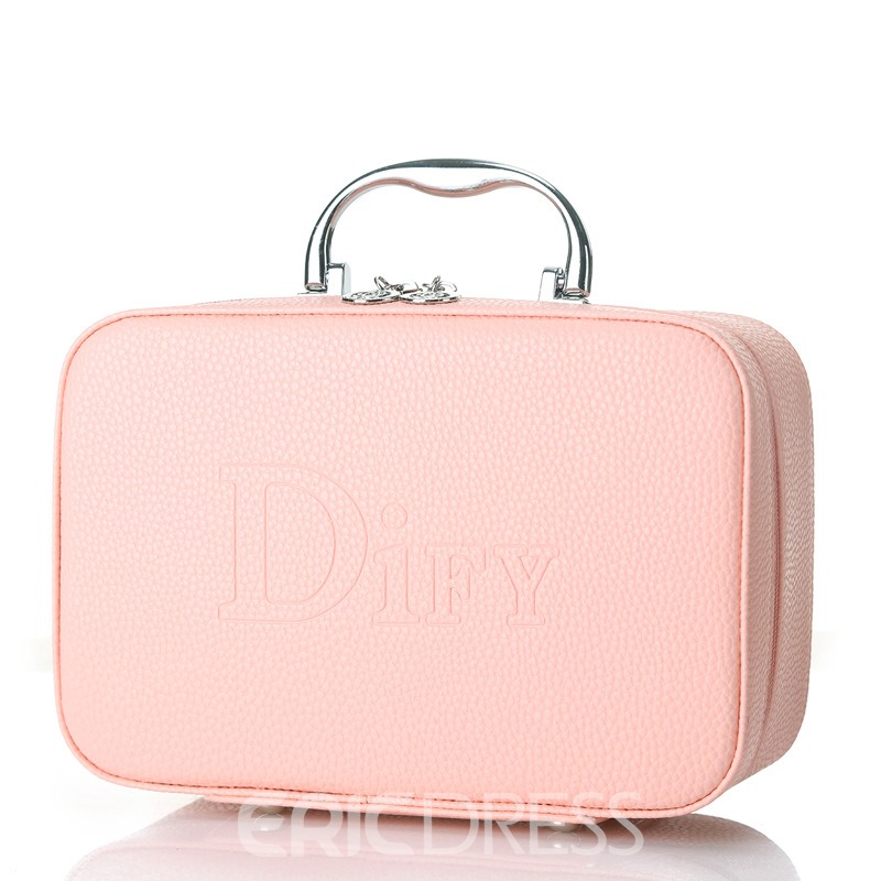 Ericdress Simplicity Solid Color Zipper Cosmetic Bag
