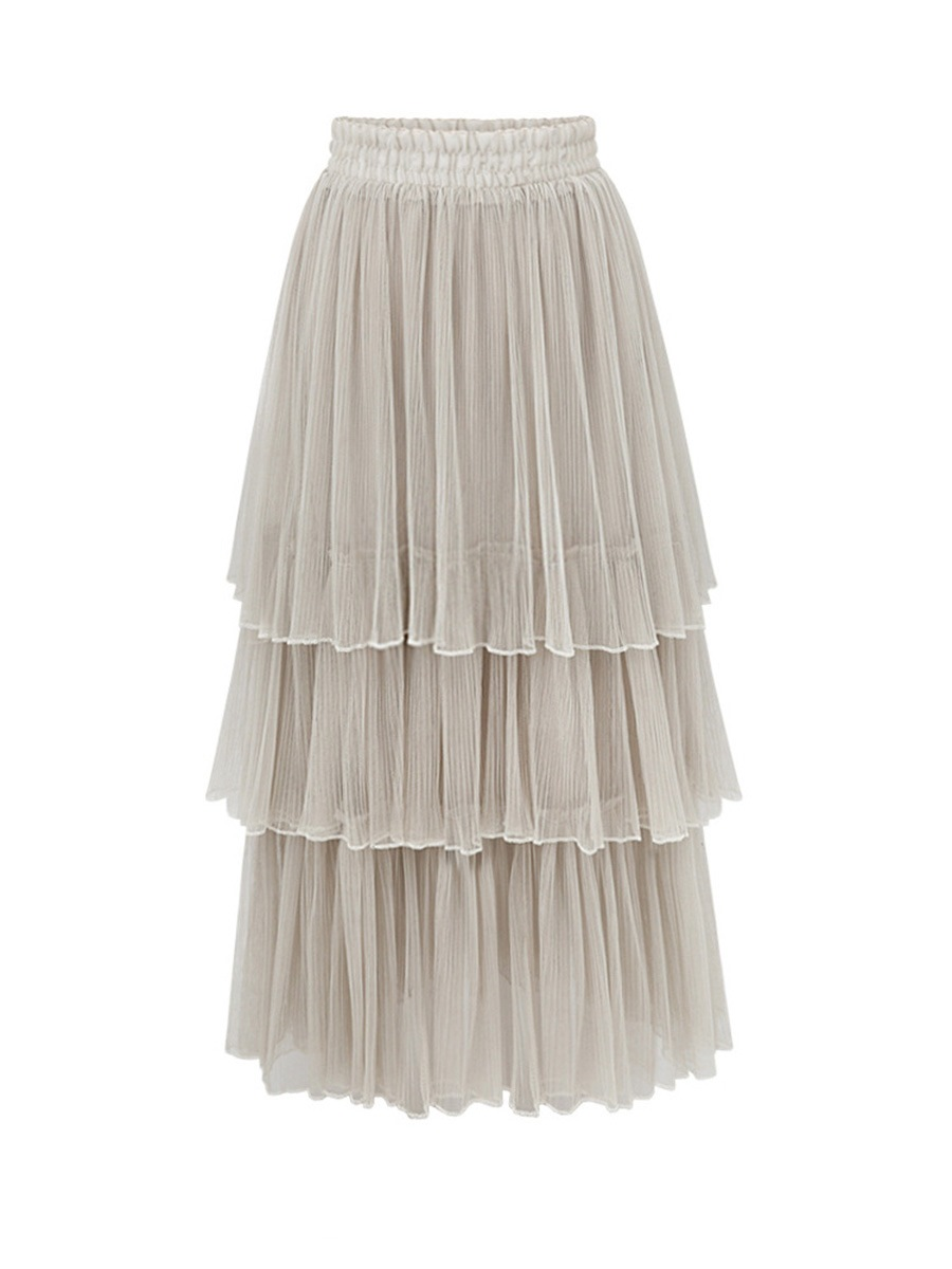 Ericdress Pleated Mesh Layered Usual Skirts