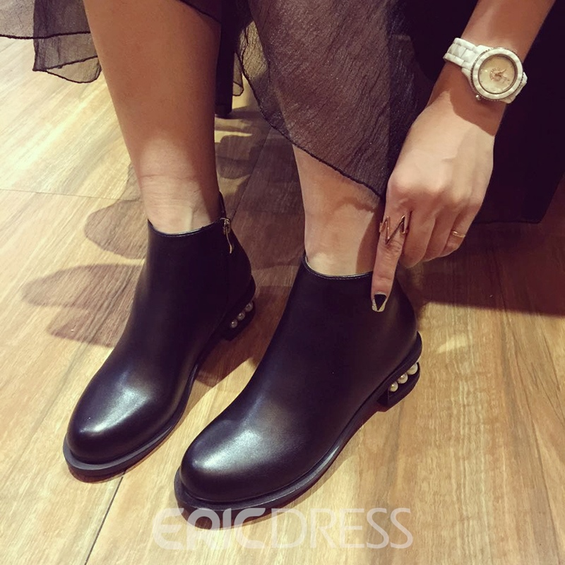 Ericdress New Style British Round Toe Plain Ankle Boots with Beads