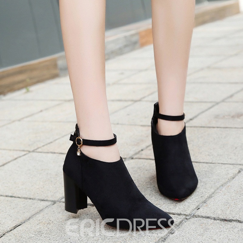 Ericdress Fashion Pointed Toe Plain Chunky Heel Boots with Buckle