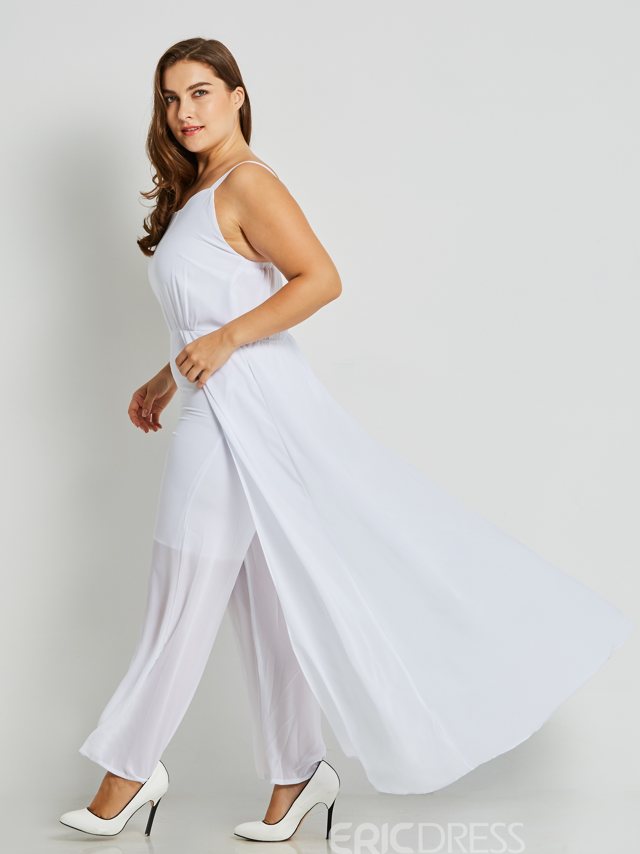Ericdress Backless Wide Leg Overlay Embellished Women's Jumpsuit
