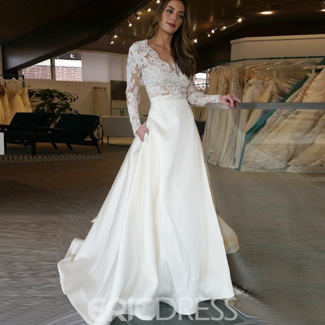 Wedding Dresses: Ericdress V Neck A Line Appliques Long Sleeves Wedding