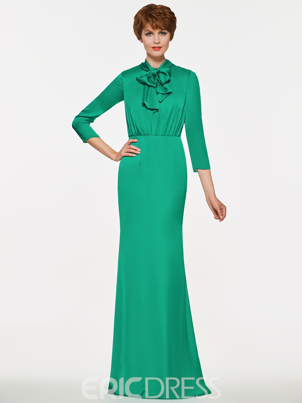 Ericdress High Neck 3/4 Length Sleeves Sheath Long Mother Of The Bride Dress