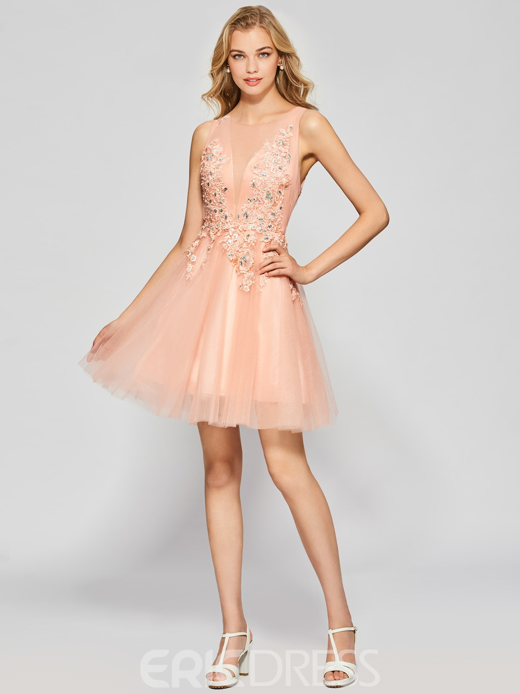 Ericdress A Line Applique Beaded Short Homecoming Dress