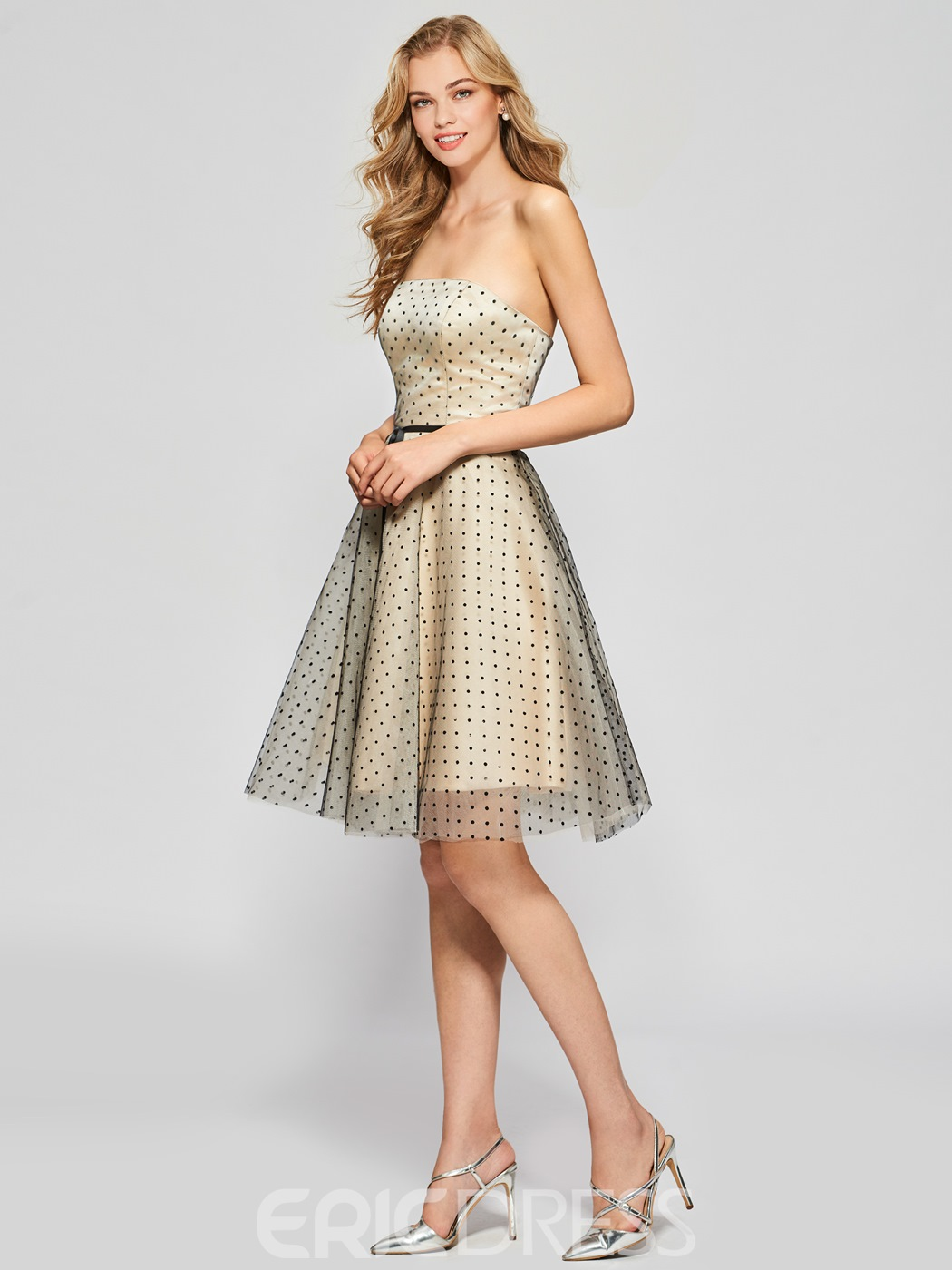 Ericdress Stylish A-Line Strapless Knee-Length Homecoming Dress