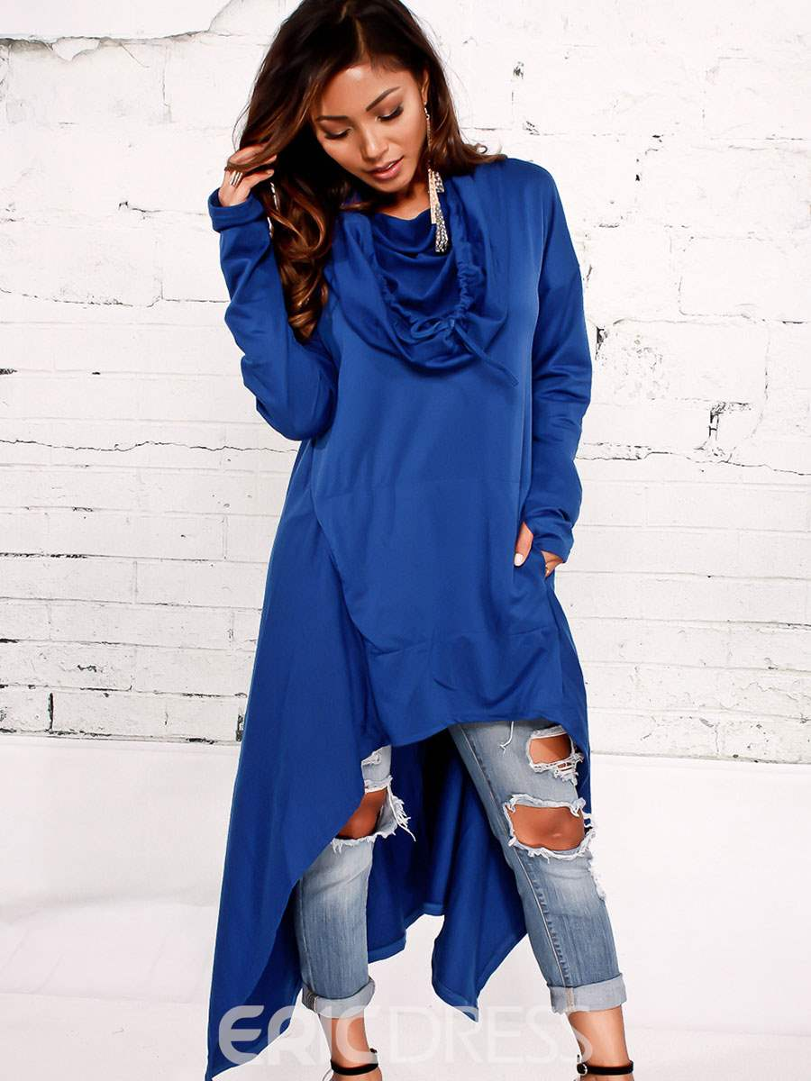 Ericdress Asymmetric Plain Mid-Length Cowl Neck Cool Hoodie