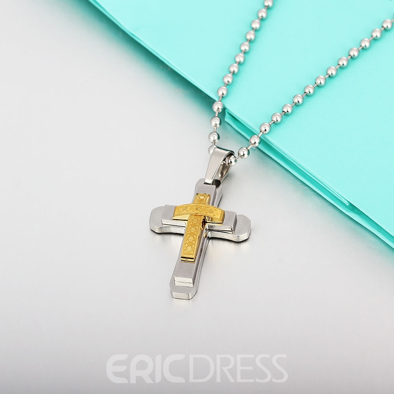 MarkChic Stainless Steel Cross Pendant Punk Necklace
