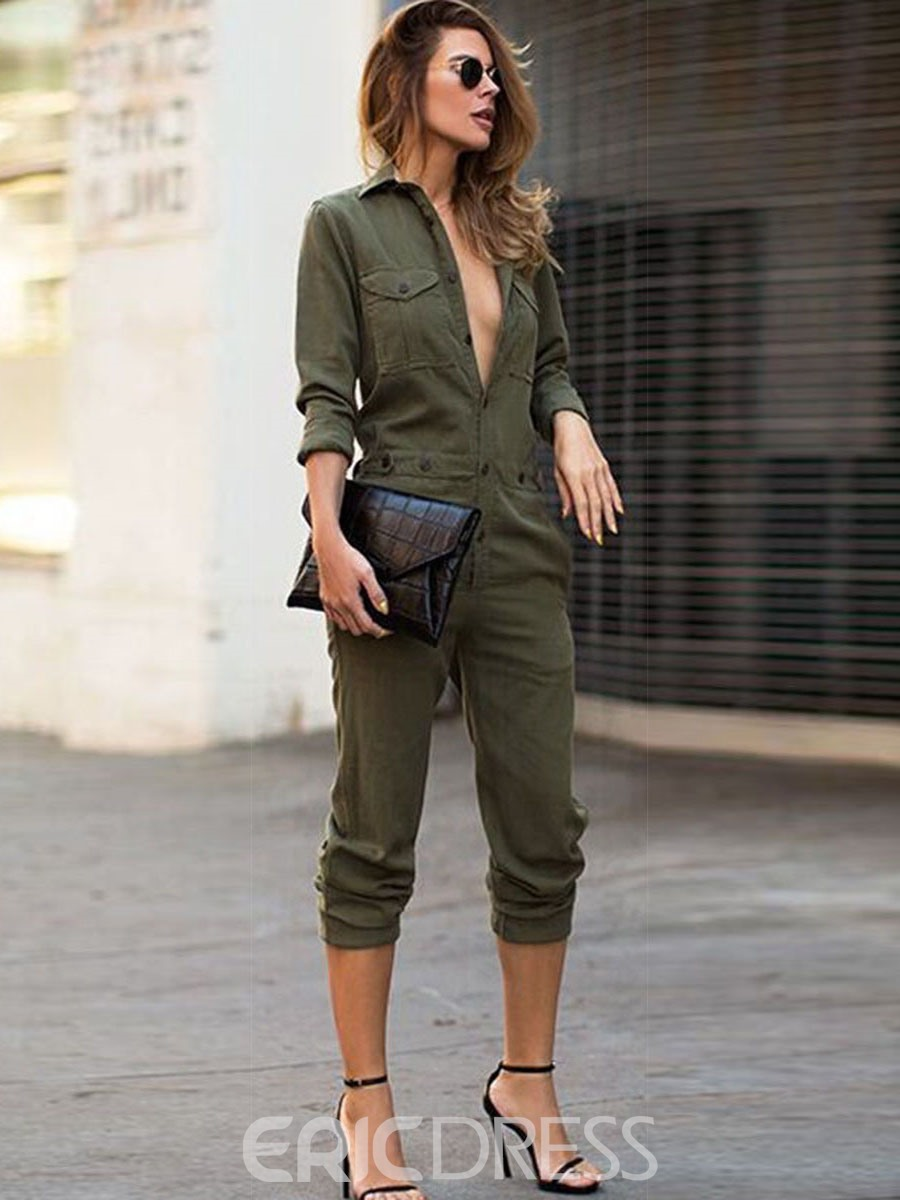 EricdressButton Pocket Slim Lapel Jumpsuits Pants