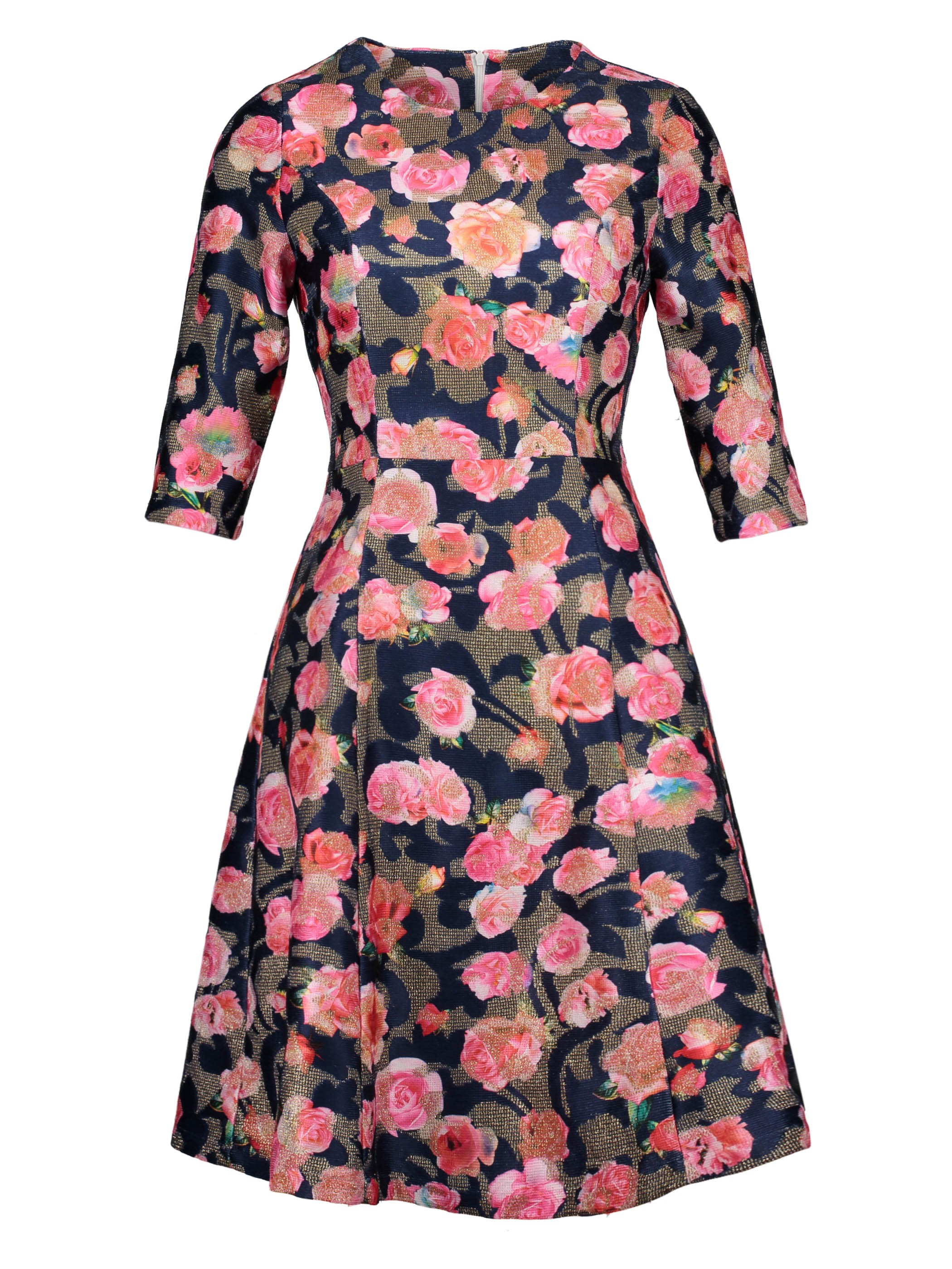 Ericdress Color Block Floral Print Mid-Calf A-Line Dress