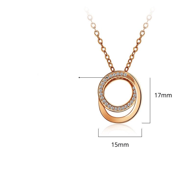 MarkChic Double Layer Rose Gold Pendant Necklace